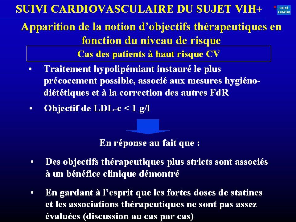 Deux catégories de diabétiques à haut risque 50 ans ou plus chez lhomme 60 ans ou plus chez la femme ATCD familiaux de coronaropathie précoce Tabagism