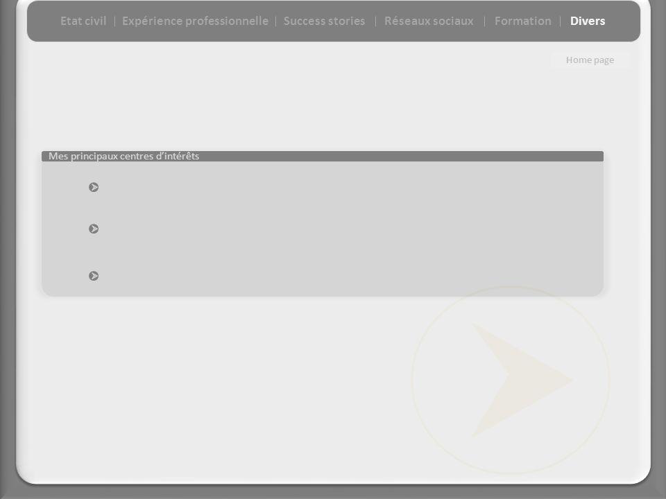 Mes principaux centres dintérêts Etat civilExpérience professionnelleSuccess storiesFormationDiversRéseaux sociaux Home page