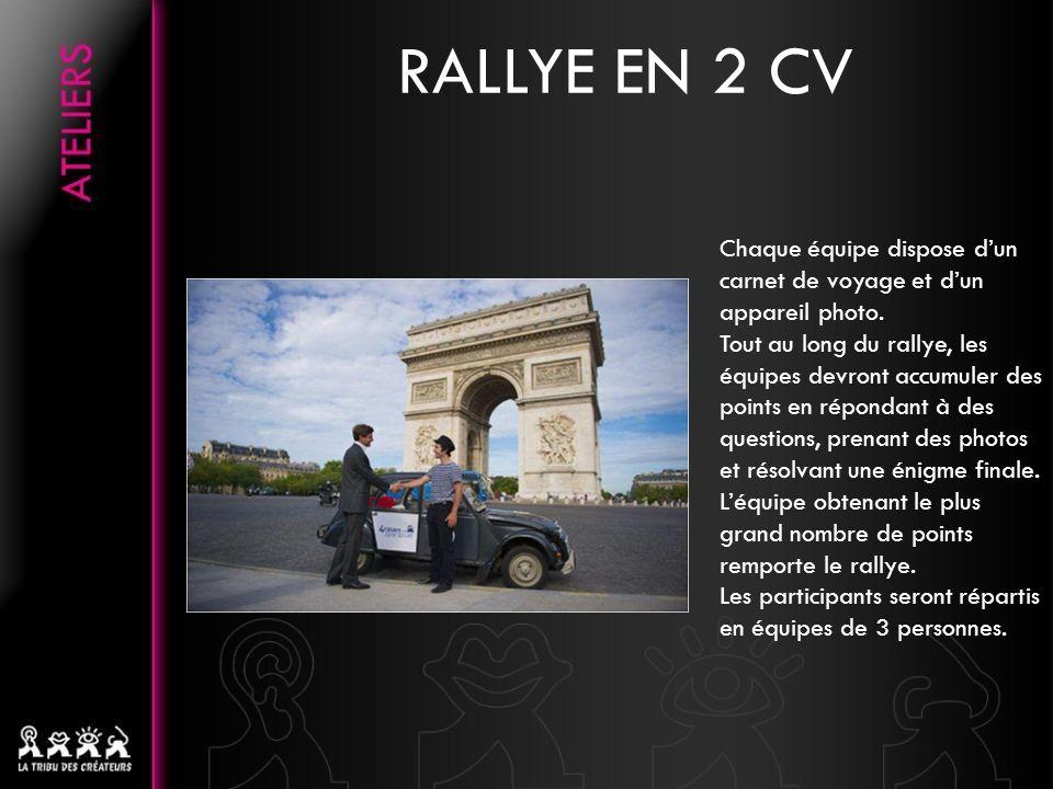 RALLYE EN 2 CV Chaque équipe dispose dun carnet de voyage et dun appareil photo.