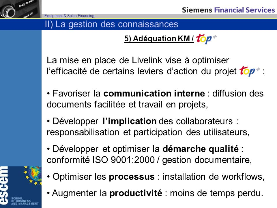 Equipment & Sales Financing 5) Adéquation KM / La mise en place de Livelink vise à optimiser lefficacité de certains leviers daction du projet : Favoriser la communication interne : diffusion des documents facilitée et travail en projets, Développer limplication des collaborateurs : responsabilisation et participation des utilisateurs, Développer et optimiser la démarche qualité : conformité ISO 9001:2000 / gestion documentaire, Optimiser les processus : installation de workflows, Augmenter la productivité : moins de temps perdu.