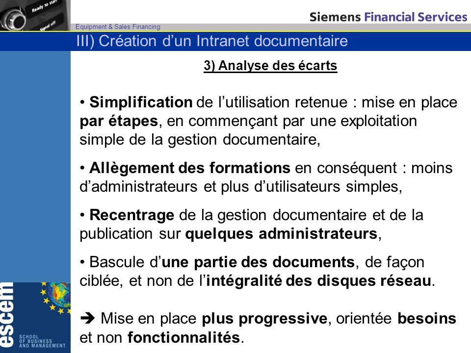Equipment & Sales Financing 3) Analyse des écarts Simplification de lutilisation retenue : mise en place par étapes, en commençant par une exploitatio