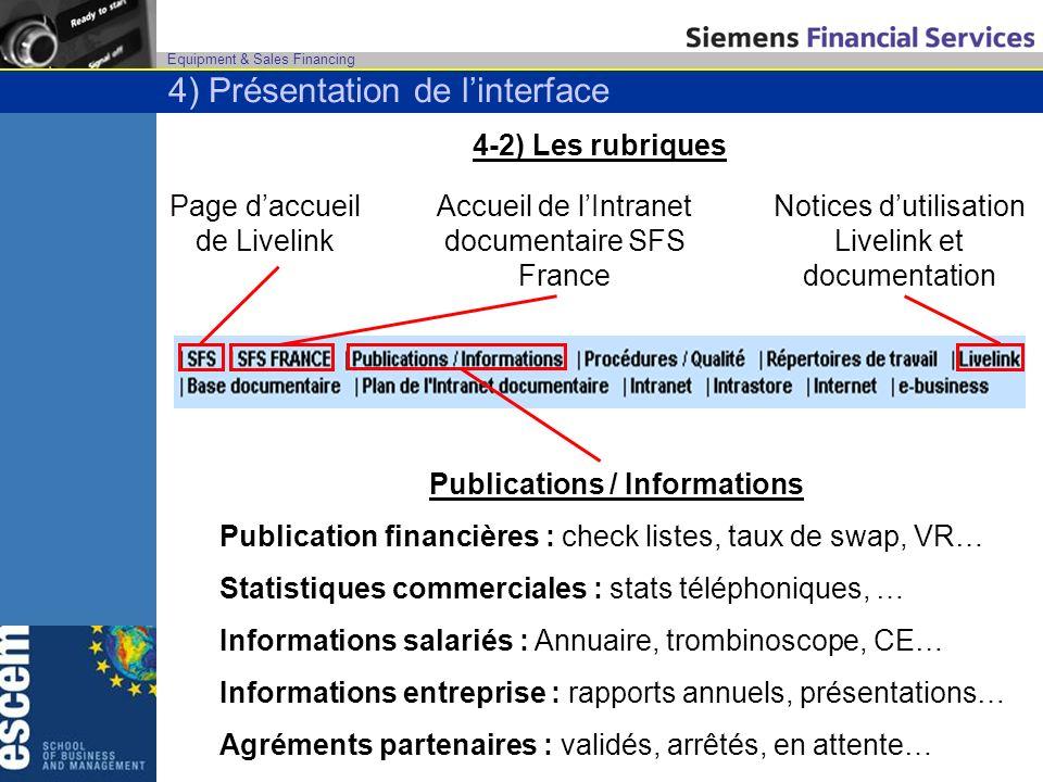 Equipment & Sales Financing 4-2) Les rubriques Page daccueil de Livelink Accueil de lIntranet documentaire SFS France Publications / Informations Publ