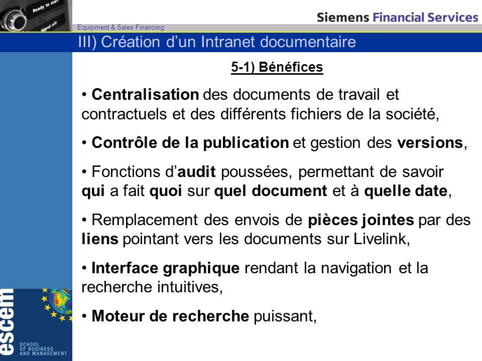 Equipment & Sales Financing 5-1) Bénéfices Centralisation des documents de travail et contractuels et des différents fichiers de la société, Contrôle