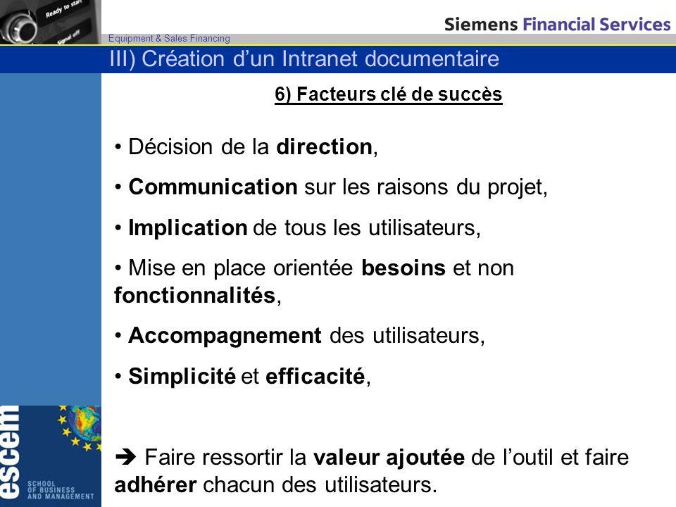 Equipment & Sales Financing 6) Facteurs clé de succès Décision de la direction, Communication sur les raisons du projet, Implication de tous les utili