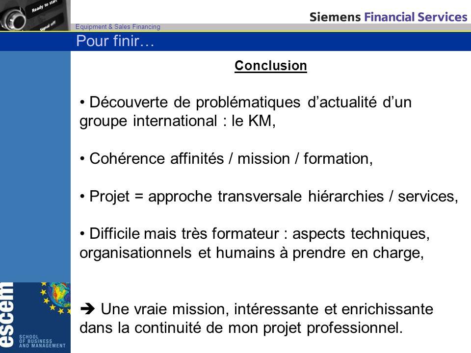 Equipment & Sales Financing Conclusion Découverte de problématiques dactualité dun groupe international : le KM, Cohérence affinités / mission / forma