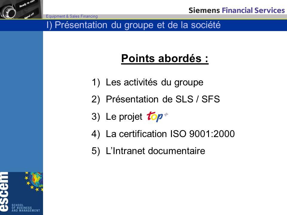 Equipment & Sales Financing I) Présentation du groupe et de la société Points abordés : 1)Les activités du groupe 2)Présentation de SLS / SFS 3)Le pro