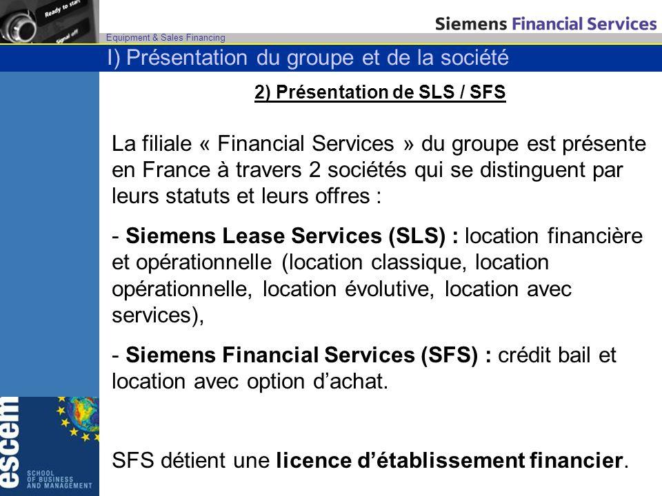 Equipment & Sales Financing 2) Présentation de SLS / SFS La filiale « Financial Services » du groupe est présente en France à travers 2 sociétés qui s