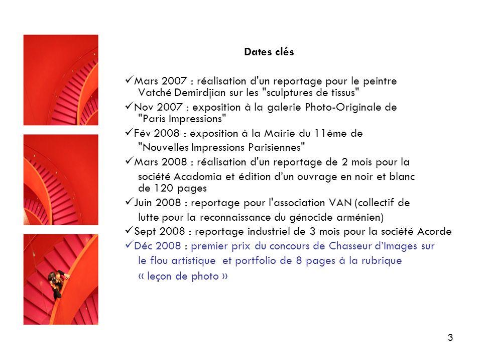 3 Dates clés Mars 2007 : réalisation d'un reportage pour le peintre Vatché Demirdjian sur les