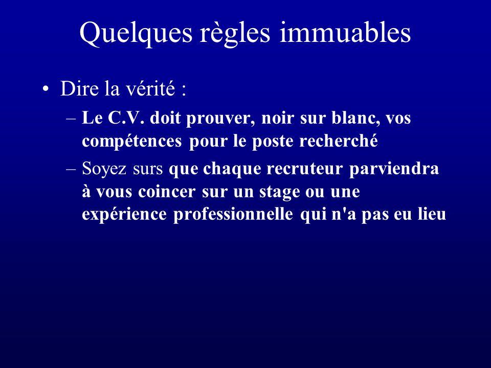 Quelques règles immuables Le C.V.