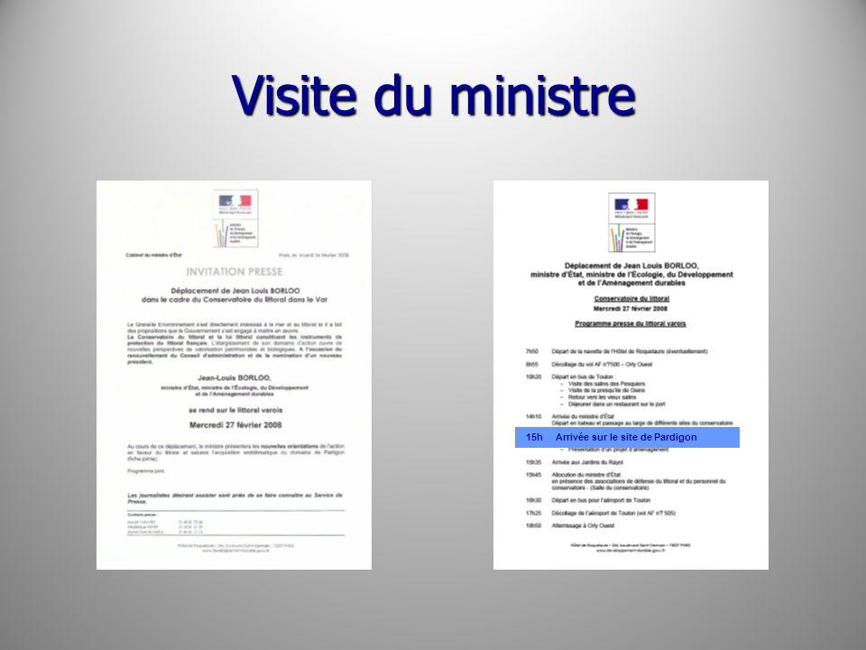 Visite du ministre 15h Arrivée sur le site de Pardigon
