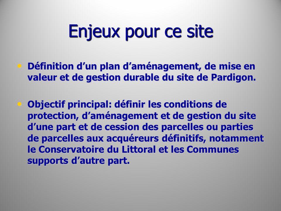 Enjeux pour ce site Définition dun plan daménagement, de mise en valeur et de gestion durable du site de Pardigon. Définition dun plan daménagement, d