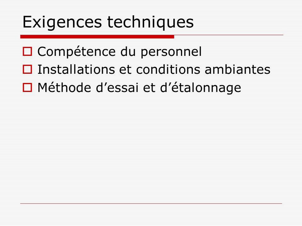 Exigences techniques Compétence du personnel Installations et conditions ambiantes Méthode dessai et détalonnage