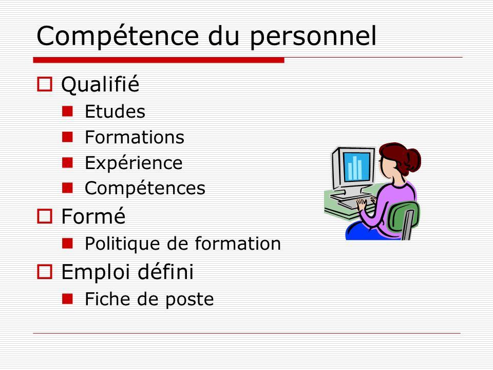Compétence du personnel Qualifié Etudes Formations Expérience Compétences Formé Politique de formation Emploi défini Fiche de poste