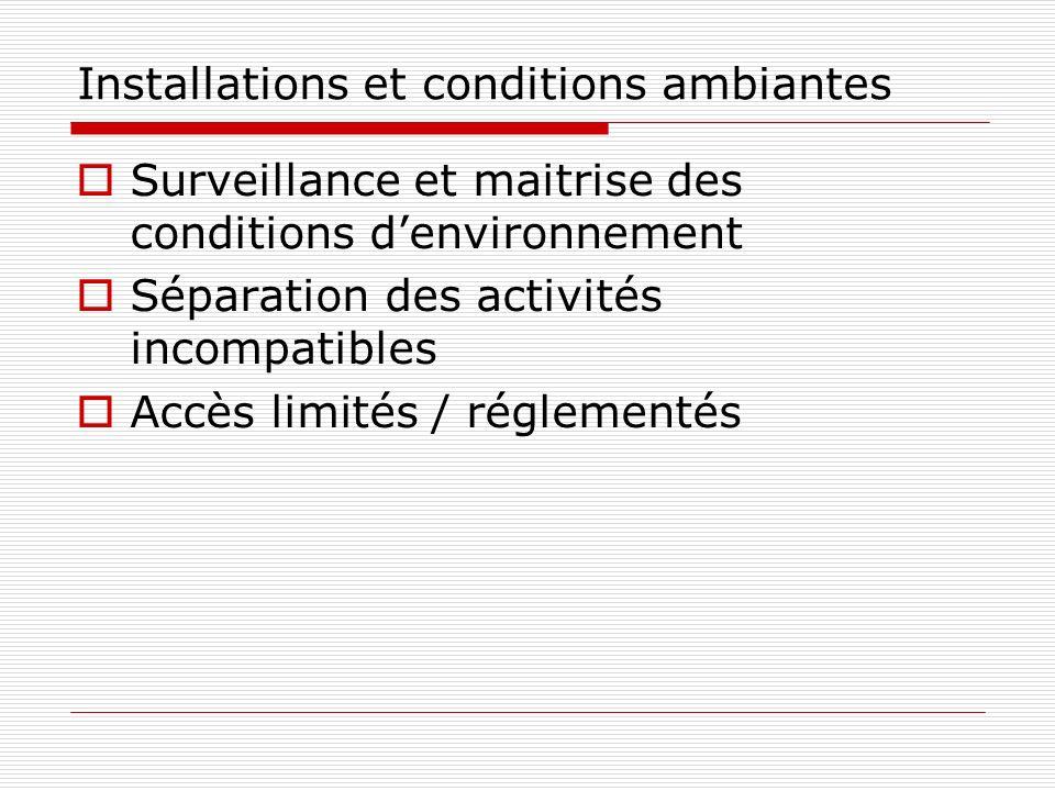 Installations et conditions ambiantes Surveillance et maitrise des conditions denvironnement Séparation des activités incompatibles Accès limités / ré