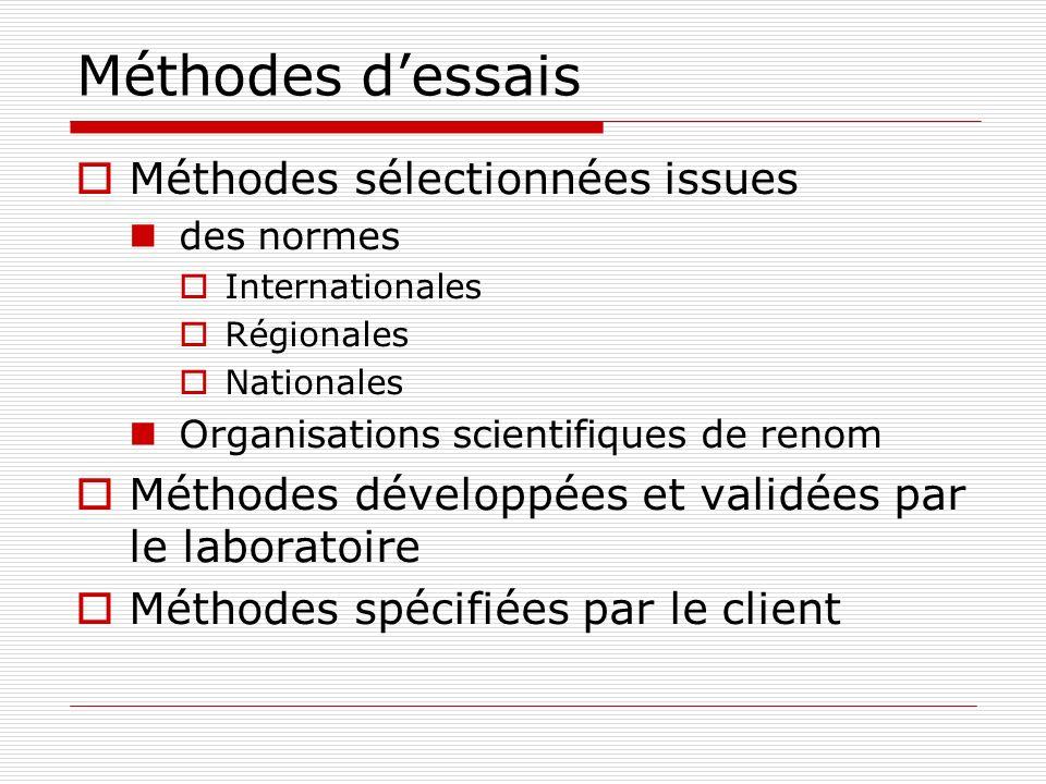 Méthodes dessais Méthodes sélectionnées issues des normes Internationales Régionales Nationales Organisations scientifiques de renom Méthodes développ