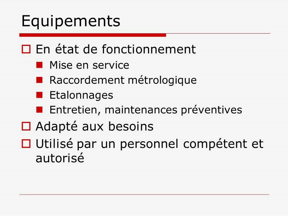 Equipements En état de fonctionnement Mise en service Raccordement métrologique Etalonnages Entretien, maintenances préventives Adapté aux besoins Uti