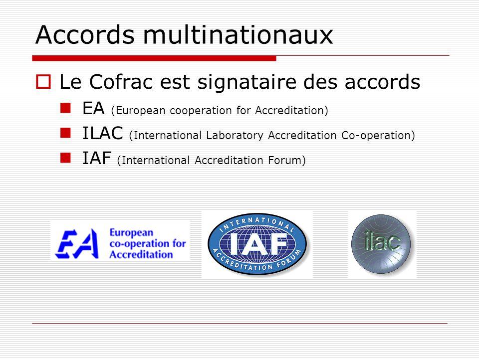 Accords multinationaux Le Cofrac est signataire des accords EA (European cooperation for Accreditation) ILAC (International Laboratory Accreditation C