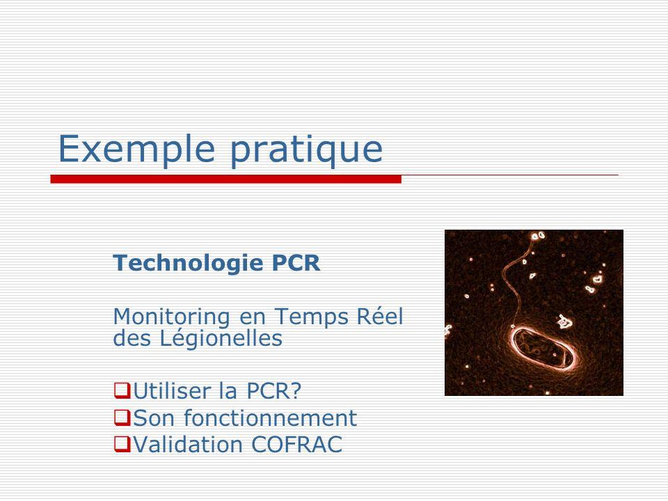 Exemple pratique Technologie PCR Monitoring en Temps Réel des Légionelles Utiliser la PCR? Son fonctionnement Validation COFRAC