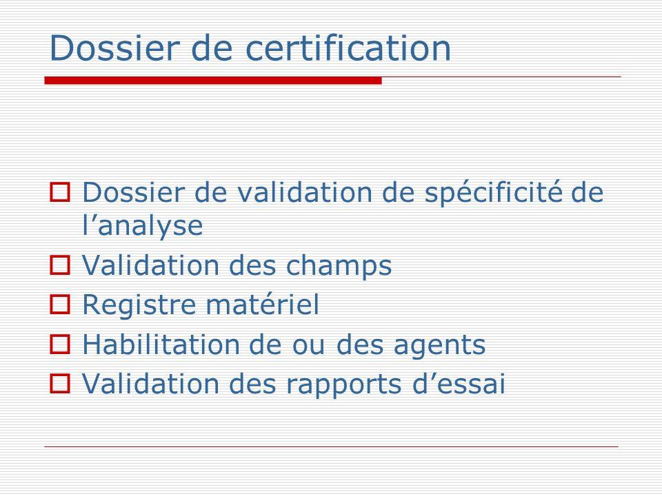Dossier de certification Dossier de validation de spécificité de lanalyse Validation des champs Registre matériel Habilitation de ou des agents Valida