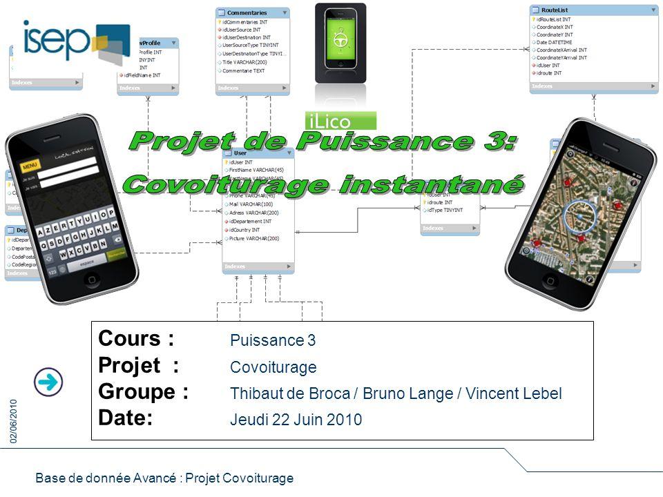 Base de donnée Avancé : Projet Covoiturage Cours : Puissance 3 Projet : Covoiturage Groupe : Thibaut de Broca / Bruno Lange / Vincent Lebel Date: Jeudi 22 Juin 2010 02/06/2010