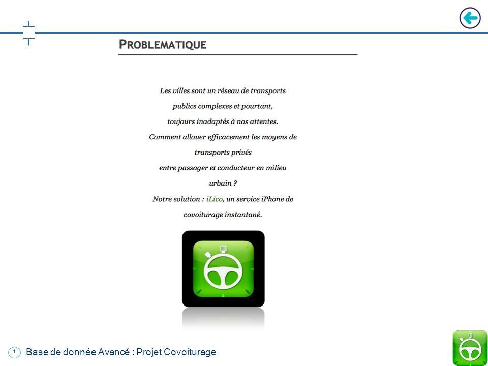 Base de donnée Avancé : Projet Covoiturage Cours : Puissance 3 Projet : Covoiturage Groupe : Thibaut de Broca / Bruno Lange / Vincent Lebel Date: Jeud