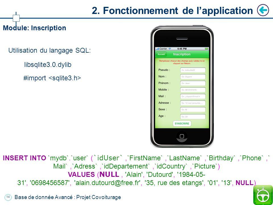 13 Base de donnée Avancé : Projet Covoiturage Plan Introduction 1. Présentation de lapplication 2. Fonctionnement de lapplication a. Environnement b.