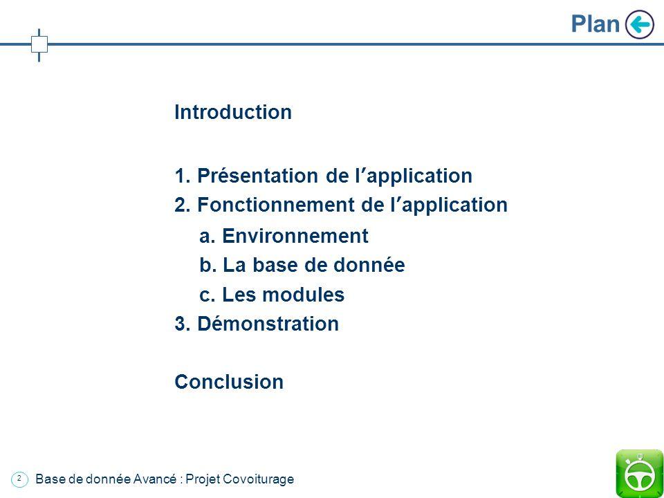 12 Base de donnée Avancé : Projet Covoiturage ex: Afficher le profil dune personne: SELECT * FROM user WHERE LastName = Damien AND FirstName = François 2.