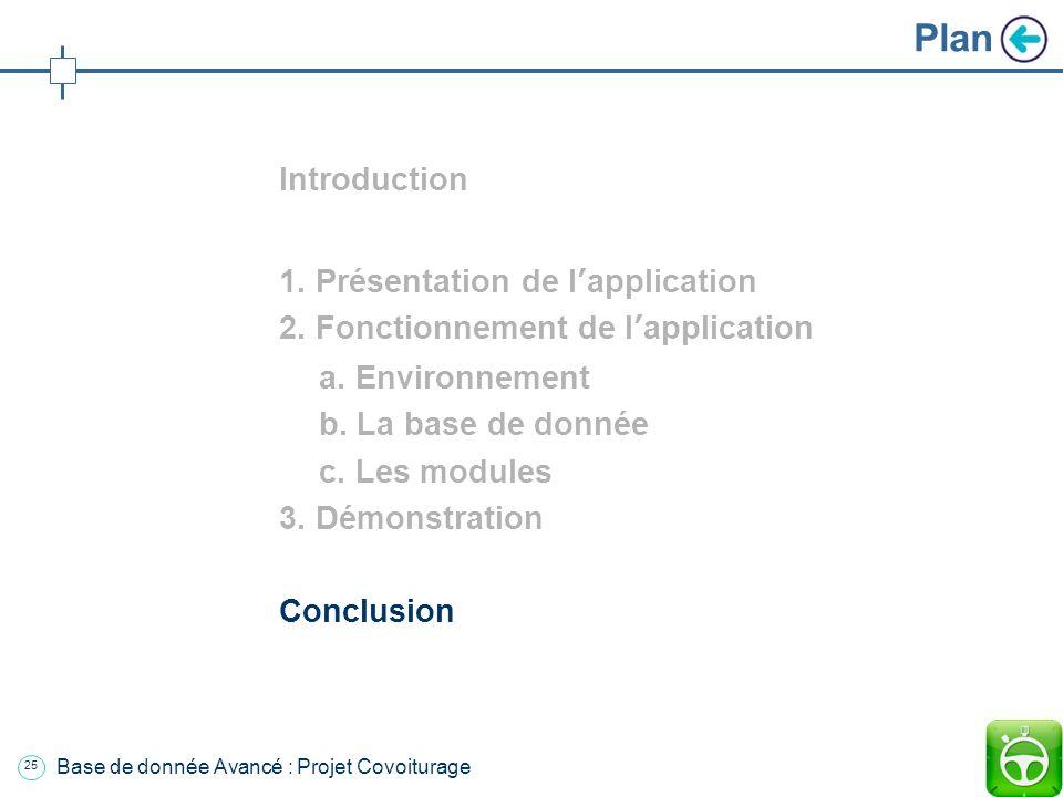 24 Base de donnée Avancé : Projet Covoiturage Plan Introduction 1. Présentation de lapplication 2. Fonctionnement de lapplication a. Environnement b.