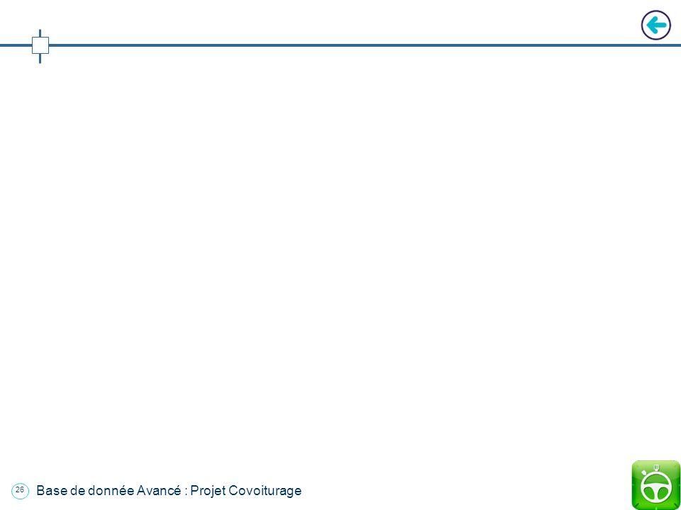 25 Base de donnée Avancé : Projet Covoiturage Plan Introduction 1. Présentation de lapplication 2. Fonctionnement de lapplication a. Environnement b.