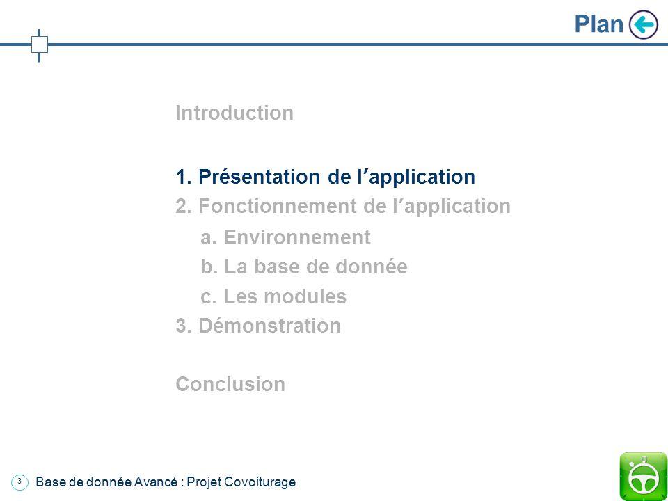 2 Plan Introduction 1. Présentation de lapplication 2. Fonctionnement de lapplication a. Environnement b. La base de donnée c. Les modules 3. Démonstr