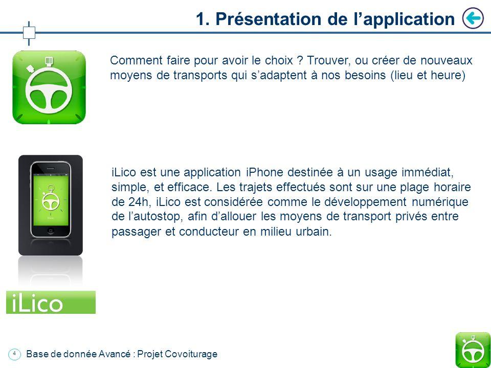 3 Base de donnée Avancé : Projet Covoiturage Plan Introduction 1. Présentation de lapplication 2. Fonctionnement de lapplication a. Environnement b. L