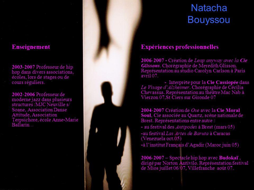 Natacha Bouyssou Enseignement 2003-2007 Professeur de hip hop dans divers associations, écoles, lors de stages ou de cours réguliers. 2002-2006 Profes