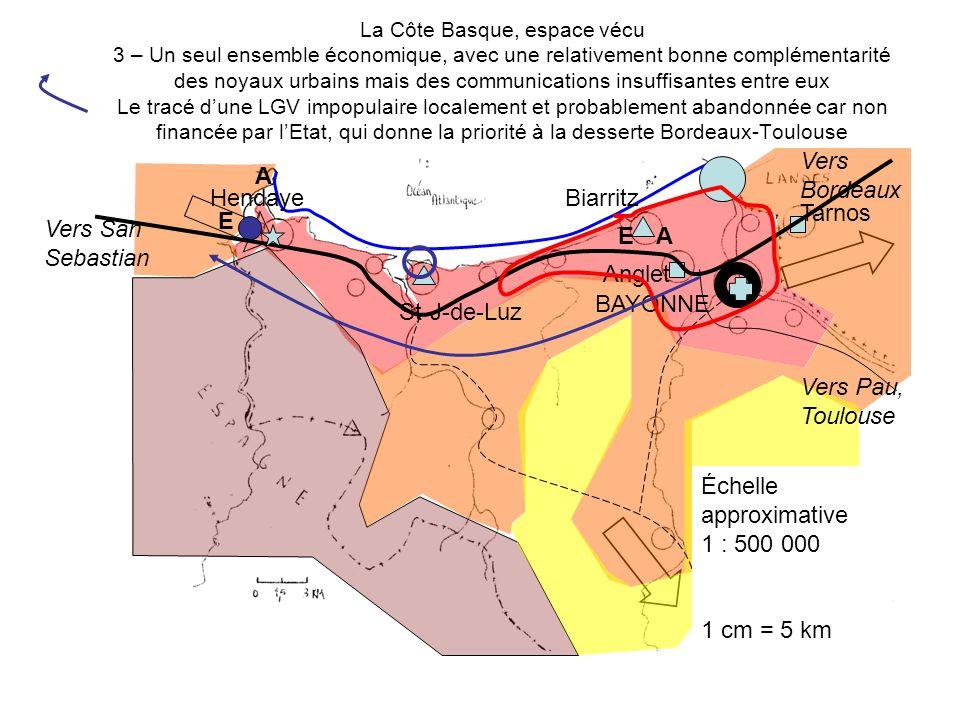 La Côte Basque, espace vécu 3 – Un seul ensemble économique, avec une relativement bonne complémentarité des noyaux urbains mais des communications in