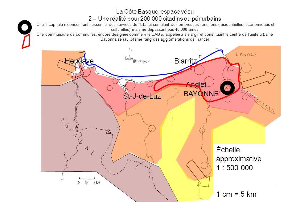 La Côte Basque, espace vécu 2 – Une réalité pour 200 000 citadins ou périurbains Une « capitale » concentrant lessentiel des services de lEtat et cumu