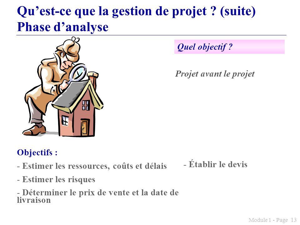 Module 1 - Page 13 Quest-ce que la gestion de projet ? (suite) Phase danalyse Objectifs : - Estimer les ressources, coûts et délais - Estimer les risq
