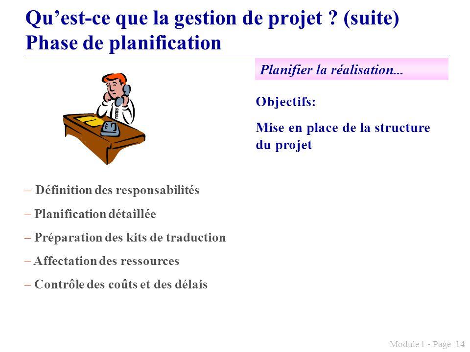 Module 1 - Page 14 Quest-ce que la gestion de projet ? (suite) Phase de planification Objectifs: Mise en place de la structure du projet – Définition