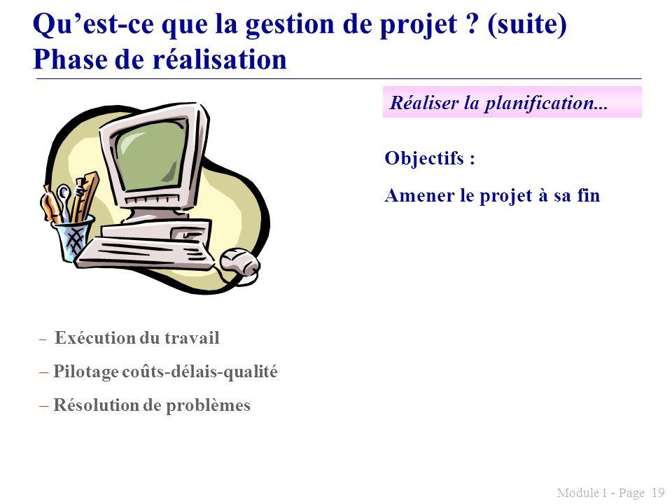 Module 1 - Page 19 Quest-ce que la gestion de projet ? (suite) Phase de réalisation Objectifs : Amener le projet à sa fin – Exécution du travail – Pil
