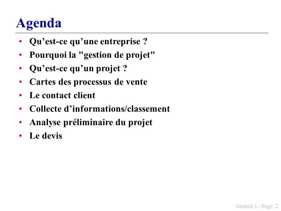 Module 1 - Page 2 Agenda Quest-ce quune entreprise ? Pourquoi la