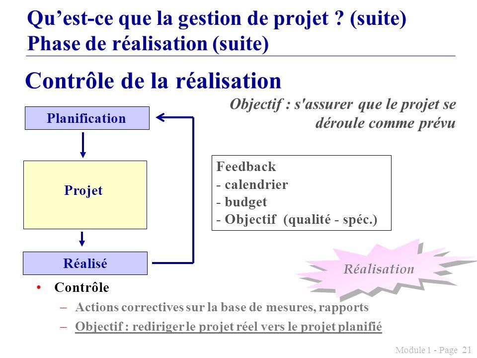 Module 1 - Page 21 Quest-ce que la gestion de projet ? (suite) Phase de réalisation (suite) Objectif : s'assurer que le projet se déroule comme prévu