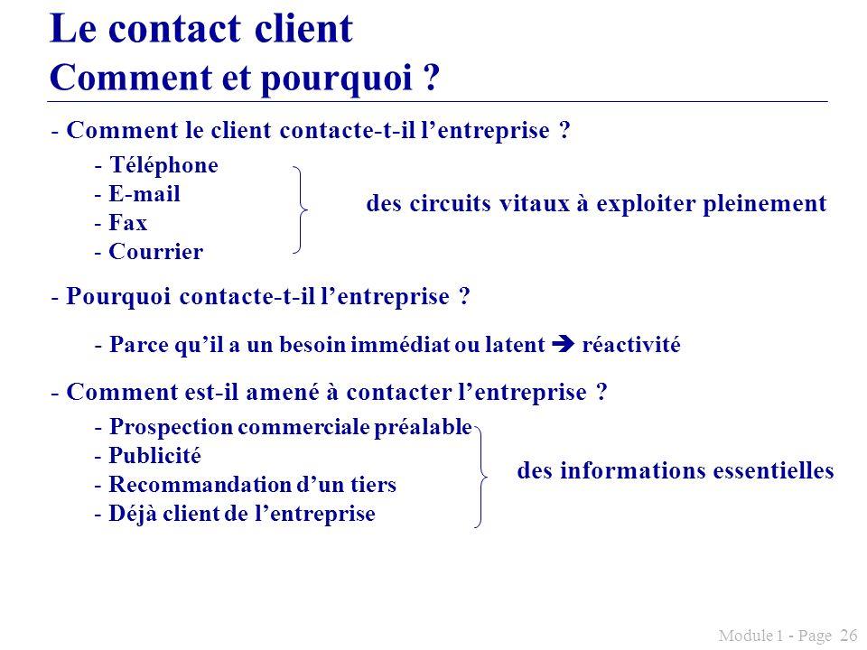 Module 1 - Page 26 Le contact client Comment et pourquoi ? - Comment le client contacte-t-il lentreprise ? - Téléphone - E-mail - Fax - Courrier - Pou