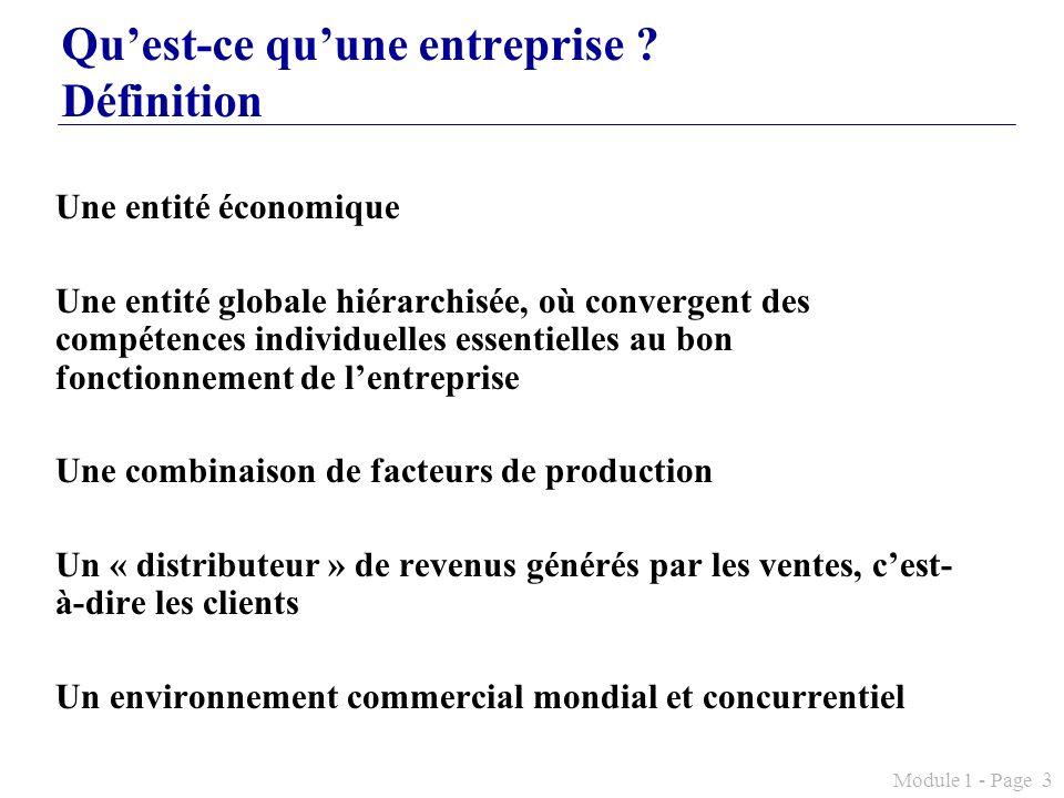 Module 1 - Page 3 Quest-ce quune entreprise ? Définition Une entité économique Une entité globale hiérarchisée, où convergent des compétences individu