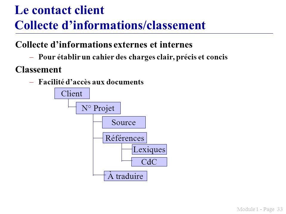Module 1 - Page 33 Le contact client Collecte dinformations/classement Collecte dinformations externes et internes –Pour établir un cahier des charges