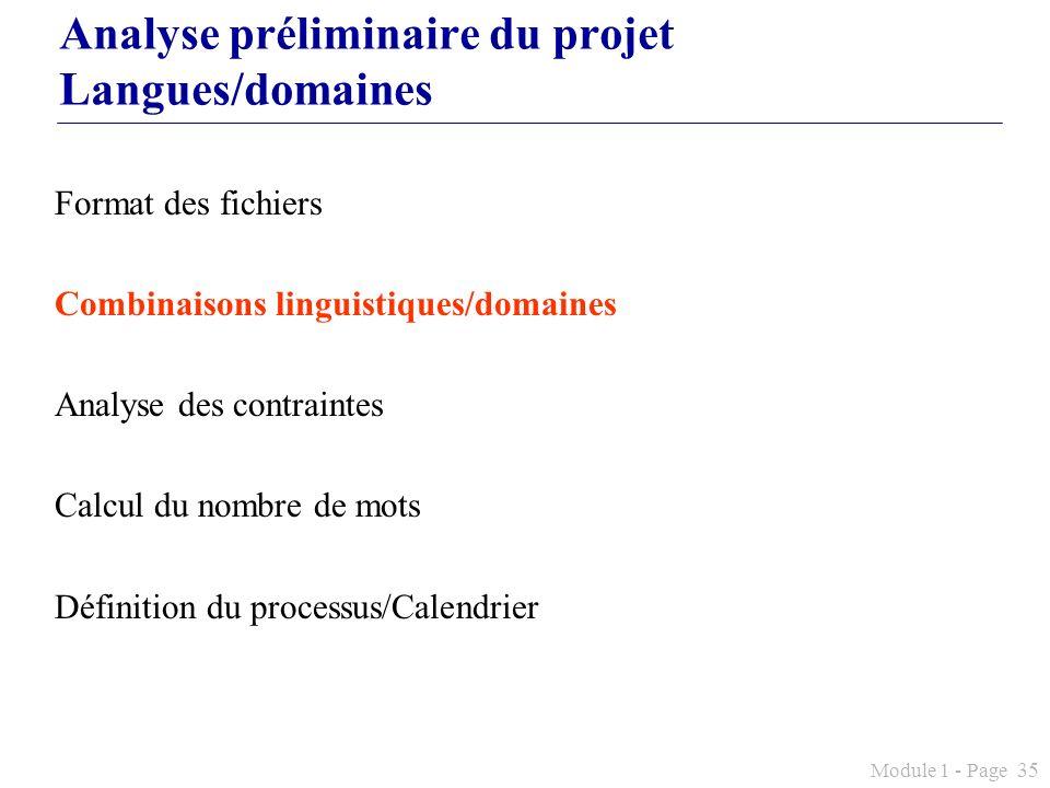 Module 1 - Page 35 Analyse préliminaire du projet Langues/domaines Format des fichiers Combinaisons linguistiques/domaines Analyse des contraintes Cal