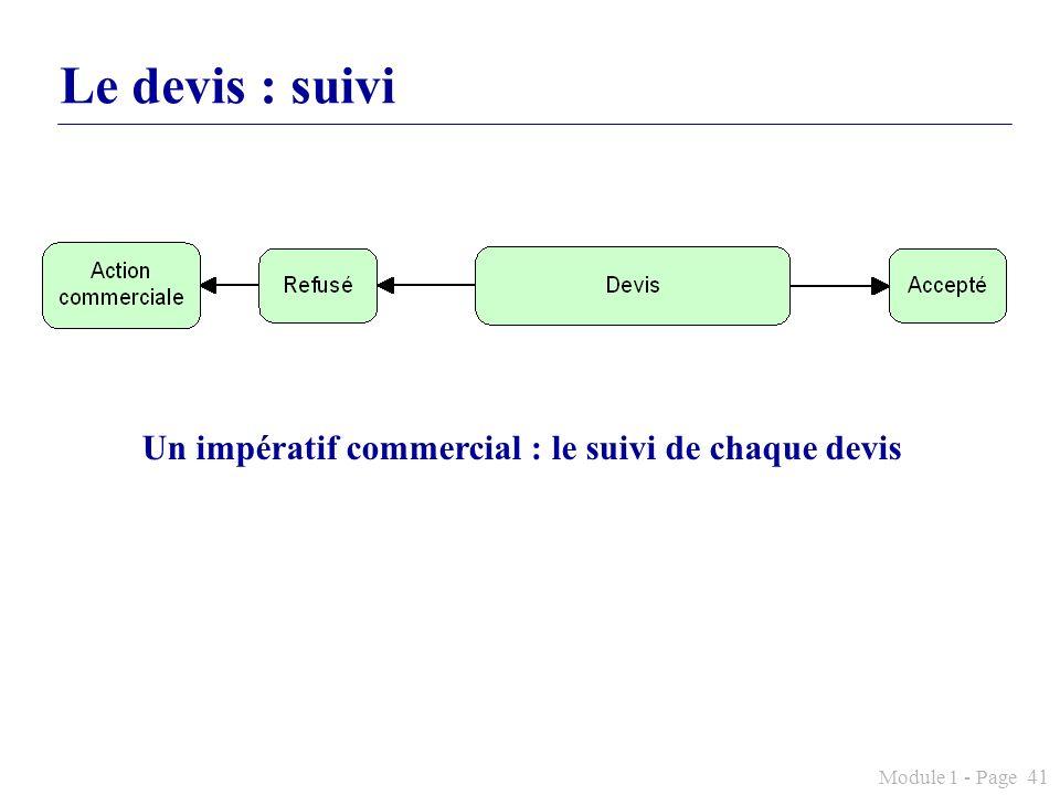 Module 1 - Page 41 Le devis : suivi Un impératif commercial : le suivi de chaque devis