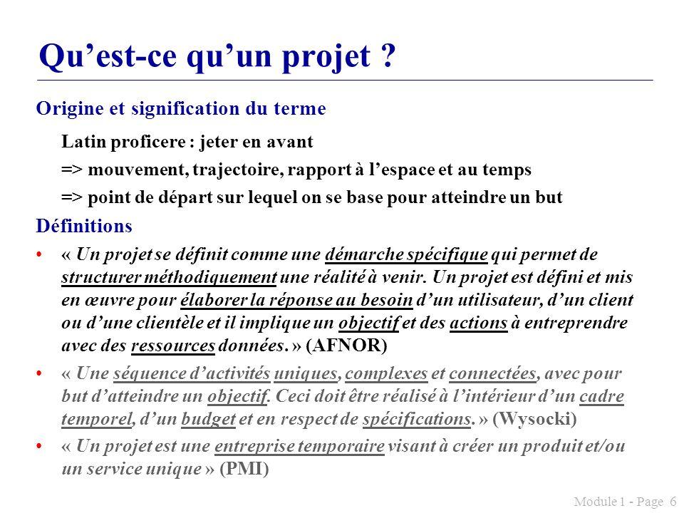 Module 1 - Page 6 Quest-ce quun projet ? Origine et signification du terme Latin proficere : jeter en avant => mouvement, trajectoire, rapport à lespa