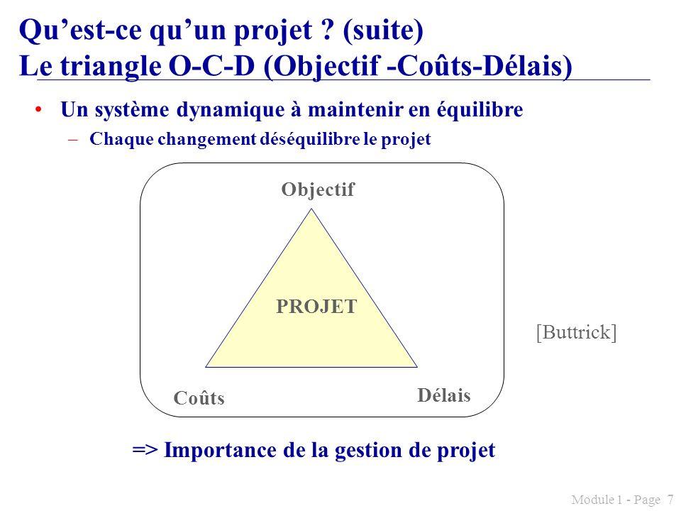 Module 1 - Page 7 Quest-ce quun projet ? (suite) Le triangle O-C-D (Objectif -Coûts-Délais) Un système dynamique à maintenir en équilibre –Chaque chan