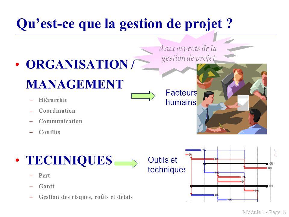 Module 1 - Page 8 Quest-ce que la gestion de projet ? ORGANISATION / MANAGEMENT –Hiérarchie –Coordination –Communication –Conflits TECHNIQUES –Pert –G