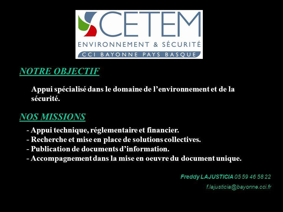 NOTRE OBJECTIF Appui spécialisé dans le domaine de lenvironnement et de la sécurité. NOS MISSIONS - Appui technique, réglementaire et financier. - Rec