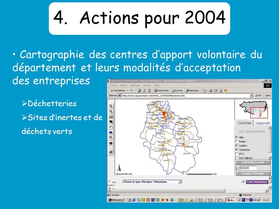 4.Actions pour 2004 Cartographie des centres dapport volontaire du département et leurs modalités dacceptation des entreprises Déchetteries Sites dinertes et de déchets verts