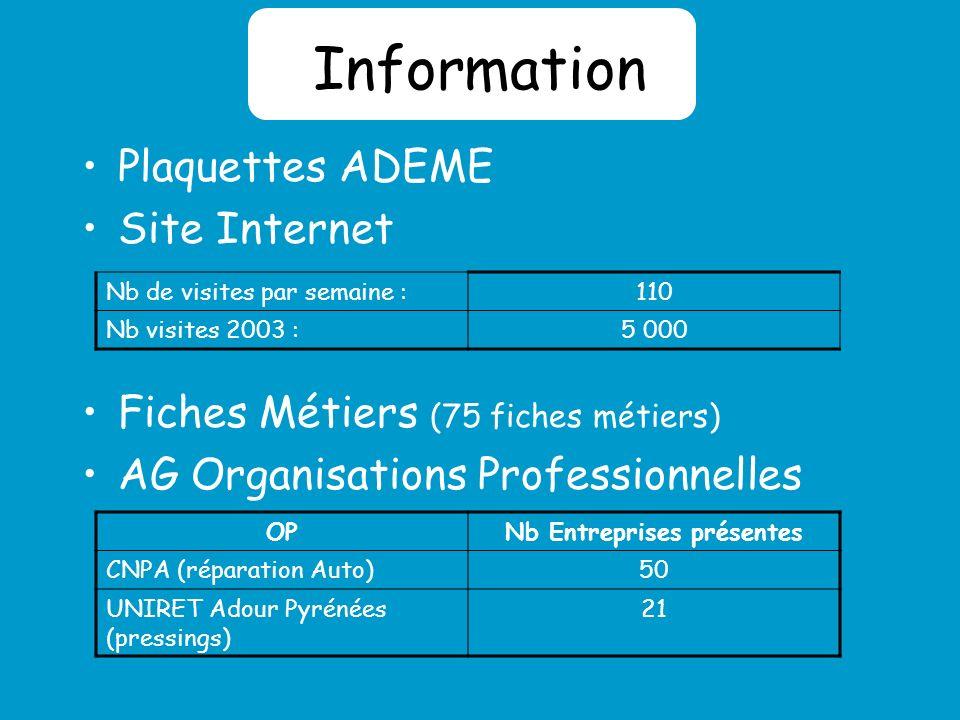 Information Plaquettes ADEME Site Internet Fiches Métiers (75 fiches métiers) AG Organisations Professionnelles Nb de visites par semaine :110 Nb visites 2003 :5 000 OPNb Entreprises présentes CNPA (réparation Auto)50 UNIRET Adour Pyrénées (pressings) 21